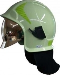 Emergency helmet Kalisz Vulcan including glasses - light green - gold shield - photoluminescent