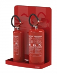 Double stand for fire extinguishers